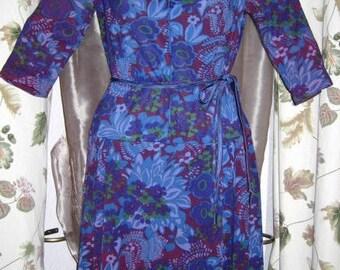 Berkshire Floral Jewel Tone Purple and Blue Print Lightweight Knit Dress 60s Vintage