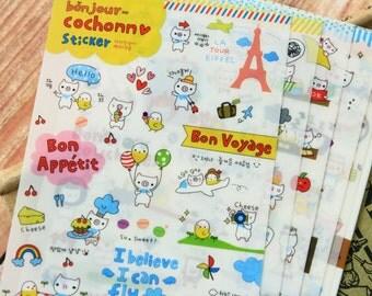 cute piggy and chick Bonjour Cochonn stickers set ver 1