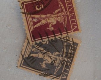 2 Helvetia Switzerland William Tell's Son Stamps, Used, Violet and Blue 1920s