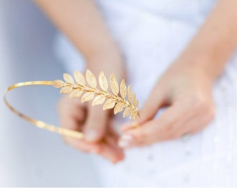 Golden Goddess Leaf Headband - SImple Leaf Headband, Bridal, Everyday, Golden Laurel Leaf, Boho Headpiece