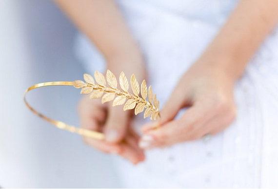 Golden Goddess Leaf Headband - SImple Leaf Headband, Bridal, Everyday, Golden Laurel Leaf, Boho Headpiece