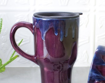 Beautiful Ceramic Coffee Travel mug with handle, BlueRoomPottery Aqua Mint Green Eggplant Purple White