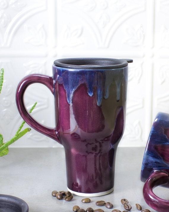 Beautiful Ceramic Coffee Travel mug with handle, BlueRoomPottery Aqua Mint Green Eggplant Purple White