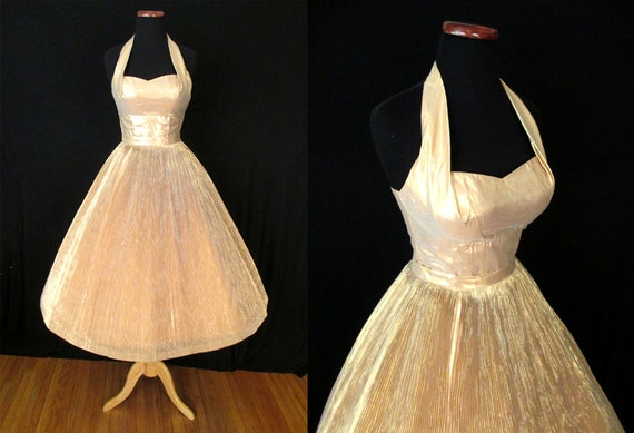 """Show Stopper 1950's Gold Lame Two Piece Shelf Bust Halter Party Dress by """"Anita Bari NY"""" Bombshell Rockabilly VLV Pinup Vixen Size- Small"""