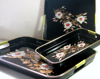 Laquered Black Asian Tray Set, Vintage Japanese Floral Tray Set, Three 3 piece Asian Tray Set, Nesting Laquered Trays, Floral Asian Trays