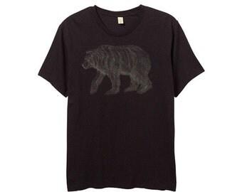 Mens Black Grizzly Bear Shirt - Brown Bear Print - Small, Medium, Large, XL, 2XL - Guys Bear Shirt