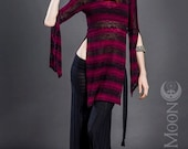 The Striped Hooded Tunic Top in Cranberry Red and Black Sweater Knit by Opal Moon Designs (Size S-XXL)
