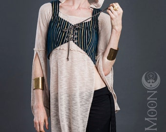 FINAL SALE Last One: The Reversible Blue Nomad Striped Vest with Grommets by Opal Moon Designs (Size S)