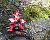 Polymer Clay Dragon 'Cardinal' - Limited Edition Handmade Collectible
