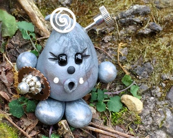 Steampunk PARKER - Polymer Clay Character Figurine - Silver