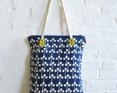 "Modern Tote, 10"" drop, skinny canvas strap, rivets with yellow canvas"