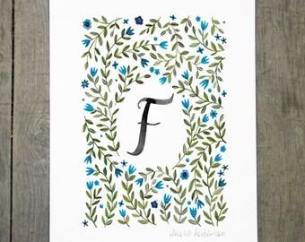 Monogram Letter F floral art print