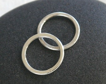 10mm Solid Sterling Silver Closed Jump Rings Hammered Flat - Silver Jewelry Findings - 17g Gauge Made with Round Hard Wire (4 Jumps)