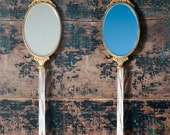 1920s Hand Mirror: Antique Vanity Double Sided Mirror, Blue & Silver Glass, Brass Trim, Metal Bow, Glass Handle