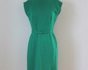 1960s wool dress / 60s green wool sheath dress / Merley Green dress