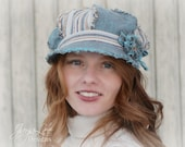 Shabby Linen Newsboy Hat - Turquoise and Stripes