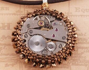 Steampunk Pendant - Steampunk Necklace - Beadwoven Pendant - Beadwork Pendant - Chrononaut Pendant