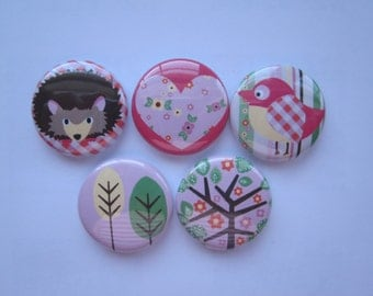set of 5   Mini 1 inch magnets or 1.25 inch button magnets  you choose size