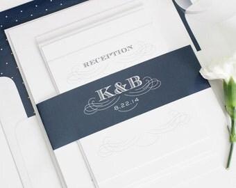 Monogram Wedding Invitation, Vintage Wedding Invitation - Monogram, Initials, Navy Blue - Antique Monogram Wedding Invitation - Sample Set