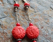 Yin Yang earrings red dangle earrings sterling silver cinnabar bohemian  boho zen  red and silver love and peace equality duality