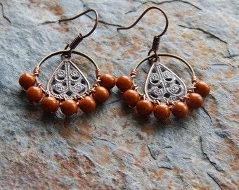 Beaded hoop earrings, autumn colors, wire wrapped chandelier earrings, brown and copper, bohemian jewelry, boho style, gypsy earrings