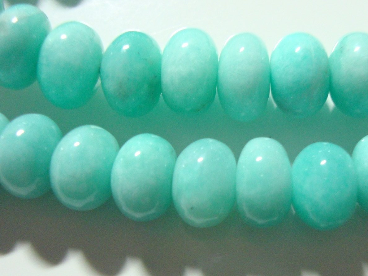 1 4 strand 8 beautiful peru amazonite azure blue smooth big rondelle beads aaa beads. Black Bedroom Furniture Sets. Home Design Ideas