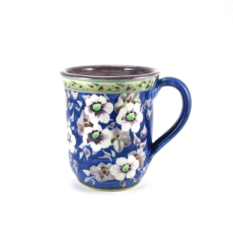 Unique Coffee Mug Handmade Blue Porcelain Ceramic By