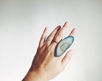 Island Agate Stone Slice Statement Ring
