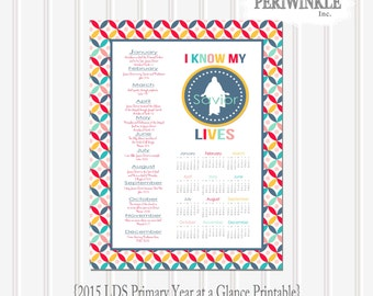 2015 Primary Theme-I Know My Savior Lives-Year At a Glance Calendar ...