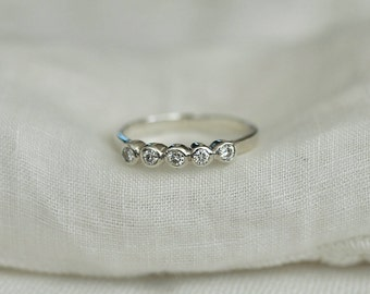Five Moissanite Ring