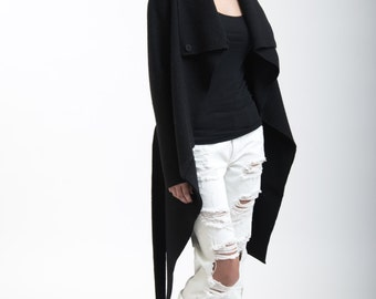 Black Jacket / High Collar Light Sweater Trench / Asymmetrical Wool Coat / Designer Coat / Trench/ Sweater Jacket - MC017
