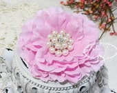 """4.5"""" inch PINK  Large Peony Flowers WITH or WITHOUT Rhinestone Pearls Embellishment -Flat Back Layered Peony fabric flowers, Wedding Bridal"""