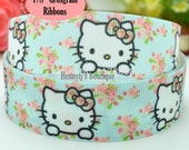 "4 yards: Hello Kitty Florals Bow Character Cartoon Logo Brand Inspired Aqua Grosgrain Ribbon 7/8"" inch wide. Gift Wrap. DIY Supplies."