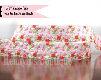 """5/8"""" FOE: Vintage Pink w/ Red Pink Green Rose Florals Printed Patterned Fold Over Elastic Stretch Band 2, 5, 10 Yards. DIY Headband Supplies"""