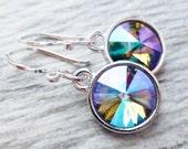 Paradise Prism Crystal Earrings, Crystal Rivoli Round Earrings, Sterling Silver Dangle Earrings, Rainbow Summer Earrings, Purple, Blue