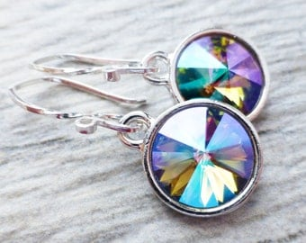 Paradise Prism Crystal Earrings, Crystal Rivoli Round Earrings, Sterling Silver Dangle Earrings, Rainbow Summer Earrings, Purple, Blue