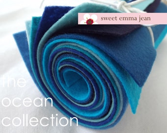 9x12 Wool Felt Sheets - The Ocean Collection - 8 Sheets of Blue Felt