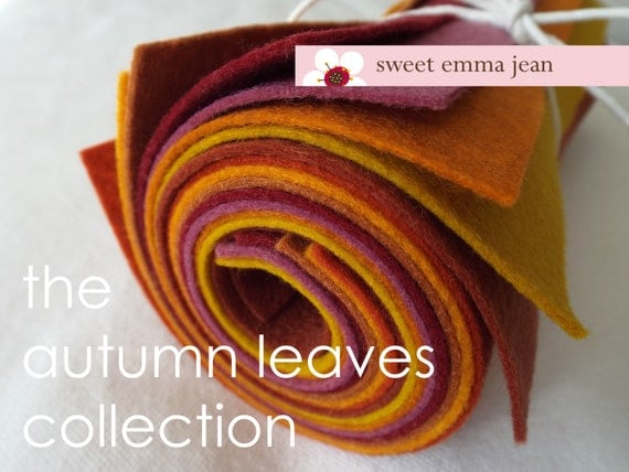 9x12 Wool Felt Sheets - The Autumn Leaves Collection - 8 Sheets of Felt