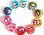Pin Back Button Set - the Candy Hair Club - pop surrealism pin - 10 pin-back buttons by Mab Graves