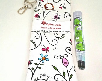 EpiPen or Insulin Injection Case Pouch for Kids Water Resistant Meds Bag Choice of Alert Label