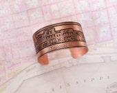 French Quarter (Toulouse St) Etched New Orleans Jewelry - Cuff Bracelet of Historical Map in Copper