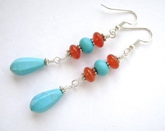 Turquoise Red Agate Earrings, Silver, Dangle Earrings, Chalk Turquoise, Wire Wrapped, Blue, Red, Orange