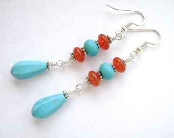Turquoise Red Agate Earrings, Silver, Dangle Earrings, Chalk Turquoise, Wire Wrapped, Blue, Red, Orange, 879
