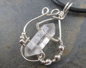 Double Pointed Quartz Pendant in Sterling Silver Swirls