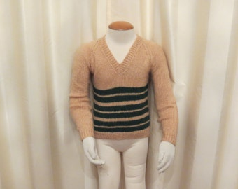 Vintage 60s Handmade Knitted Wool V Neck Peachy Beige and Green Striped Kids Jumper