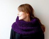 Knitted chunky cowl snood super soft and warm winter accessory in purple