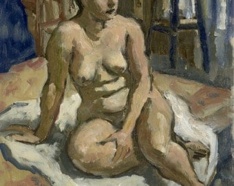 Female Nude, at rest. Small Original Oil Painting on Panel, Realist Figure Study