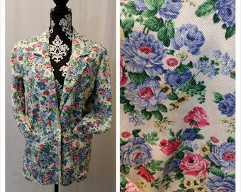 Vintage 1990's Heavy Floral Pattern Jos A Banks Blazer Jacket Cotton Denim Material Large Vintage Size 14 90's Preppy Pop