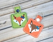 Fox Keychain, Bag Tag, Embroidered, Custom Made, Vinyl, with Snap