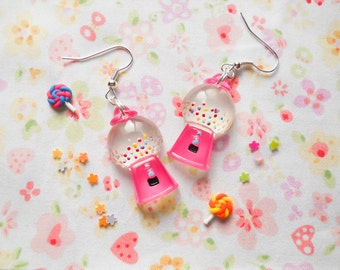 Kawaii Earrings, Gumball Earrings, Gumball Machine, Teen Earrings, Cute Earrings, Kawaii Kei, Bubblegum, Lolita Earrings, Gifts for Teens
